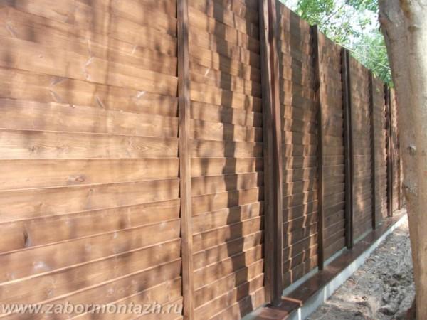 Деревянный забор на фундаменте 75